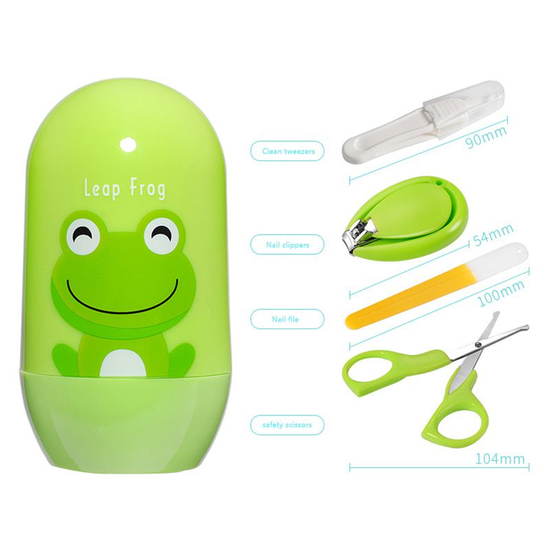 4pcs Baby Nail Care Set Infant Finger Trimmer Scissors Nail Clippers Cartoon Animal Storage Box For Travel
