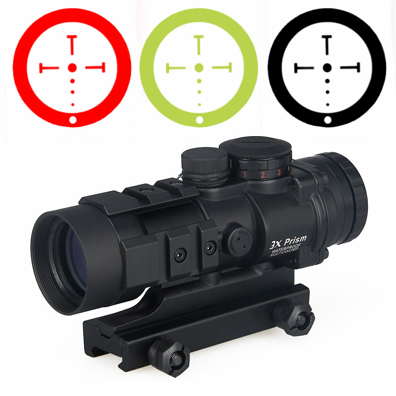 Hunting airsoft AR-332 3x collimator rifle scope rugged and compace unique ballistic/CQ reticle fits 20mm rail gz10309 image