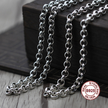 S925 Men's Sterling Silver Necklace Personality classics Simple generous retro series Circle modeling sweater chain Send
