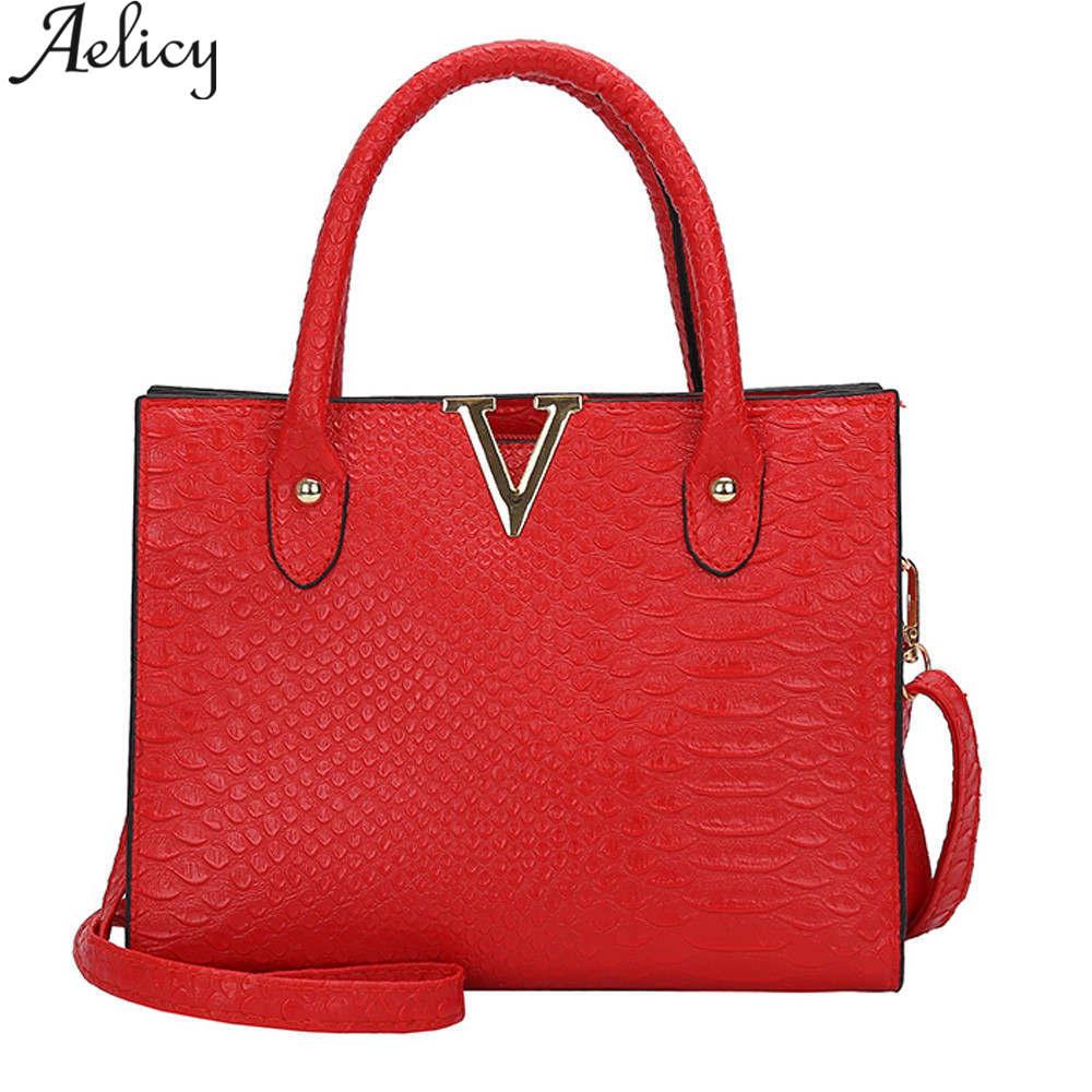 Aelicy Women Shoulder Bags Messenger Bag Small Handbag Leather Alligator Pattern Hot Sale Handbag Women Casual Tote Bag Female Сумка