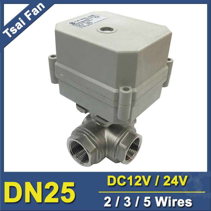 TF25-S3-C 3-Way T Port L Port Motorized Ball Valve BSP/NPT 1 DN25 SS304 Motor Operated Valve With Position Indicator 1 dc12v ss304 3 way l port electric ball valve dn25 2 wires motorized ball valve for water heating