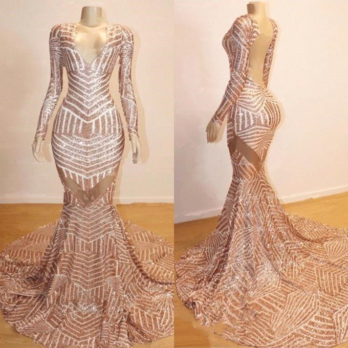Sexy Deep V Neck Backless Mermaid Prom Dresses 2019 Long Elegant Long Sleeve Sequined Formal Party