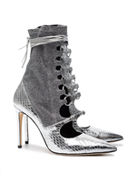 Sestito Lady Bling Glitter Silver Patchwork High Heels Sandals Boots Women Pointed Toe Ankle Strap Dress Shoes Girls Ankle Boots