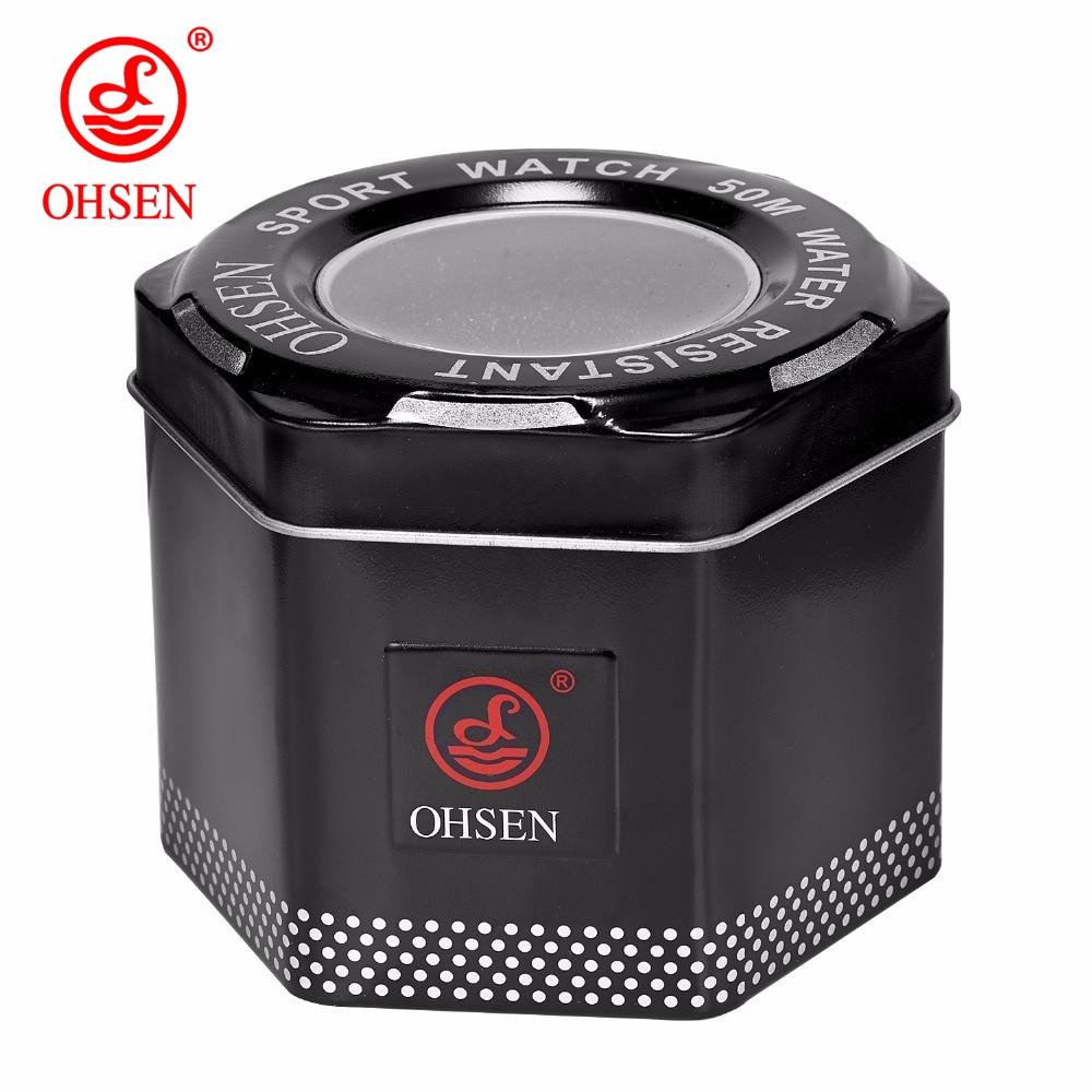 1 Pcs Mode 100% Original Ohsen Uhr Boxen Gute Qualität Schützen Uhr Metall Geschenk Box Mit Ohsen Logo Dropshipping Fein Verarbeitet