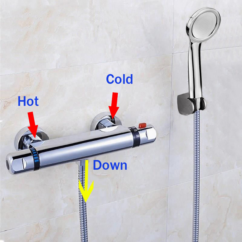 Hot Sale Thermostatic Shower Faucet Thermostatic Mixing Valve Bathroom Faucet with Shower Head Mixer Faucet luxury thermostatic shower faucet mixer water tap dual handle polished chrome thermostatic mixing valve torneira de parede tr511