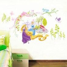 Adesivo de parede da princesa, adesivo de desenho animado para meninas, decoração de casa, pvc, poster de parede