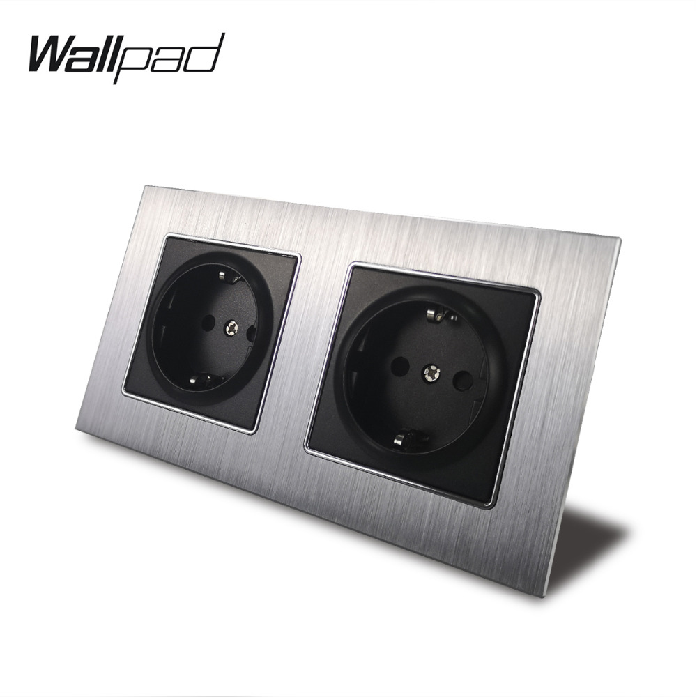 Metal Double French Outlet Socket with Claws Back Wallpad 156*86mm Silver Satin Metal Panel Wall Power Supply 16A Socket