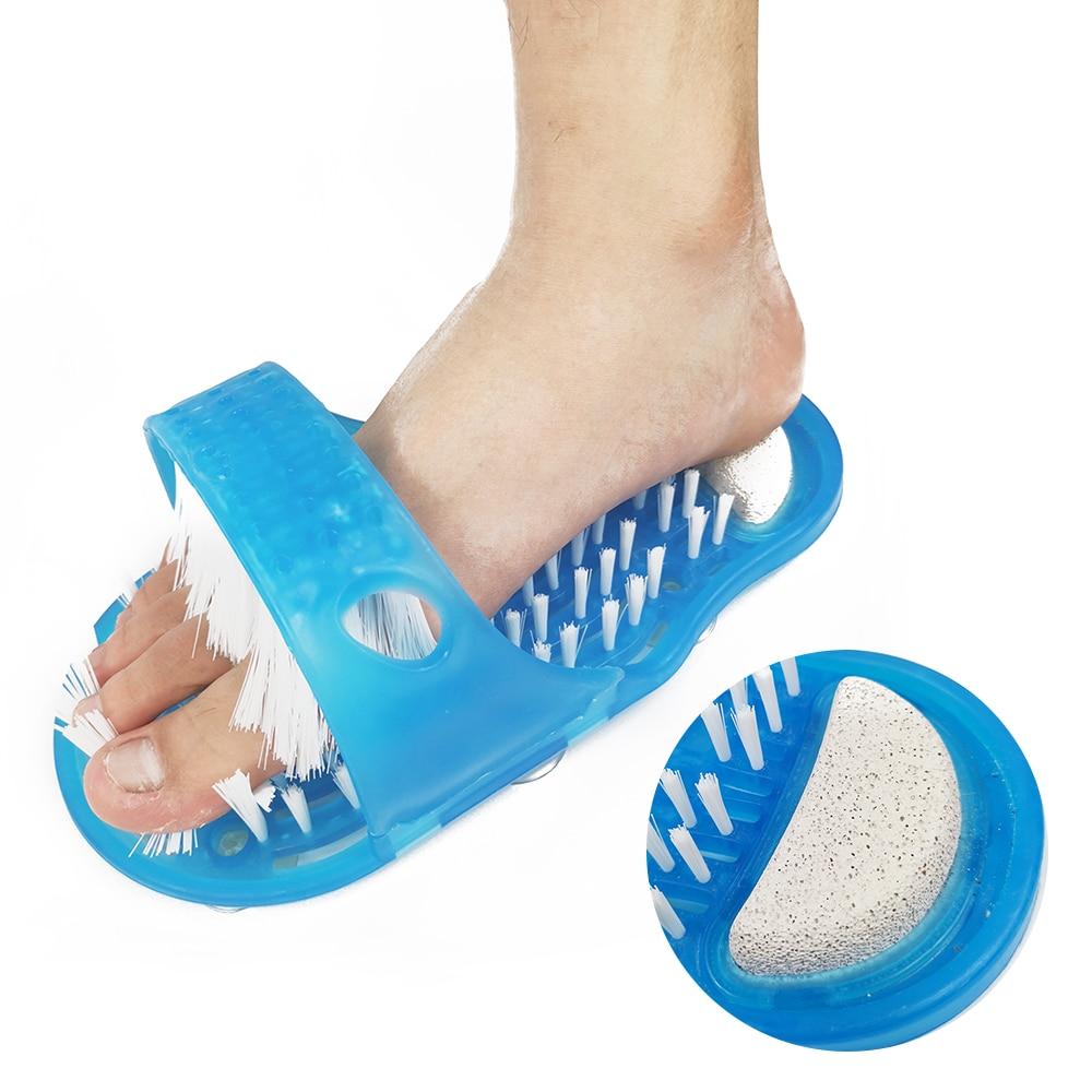 Plastic Bath Shower Feet Massage Slippers Bath Shoes Brush