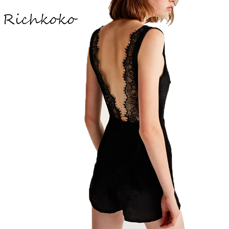 RichKoko Brand Women Black Lace Sexy Casual Playsuits Deep V-Neck Hollow Out Back Female Fashion Patchwork Rompers Lady