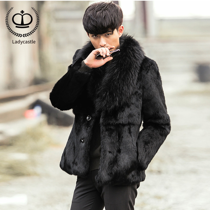 2018 Luxury Real Rabbit Fur Coat Men With Big Raccoon Dog Fur Collar Winter Warm Male Rabbit Fur Jacket Genuine Fashion FM-021