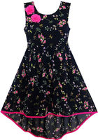Girls Dress Hi Lo Maxi Chiffon Pink Flower Party Evening 7 14