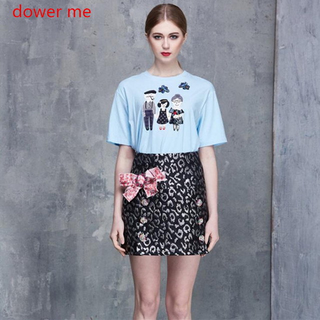 Dower Me Light Blue T Shirt Summer Beading Embroidery Top