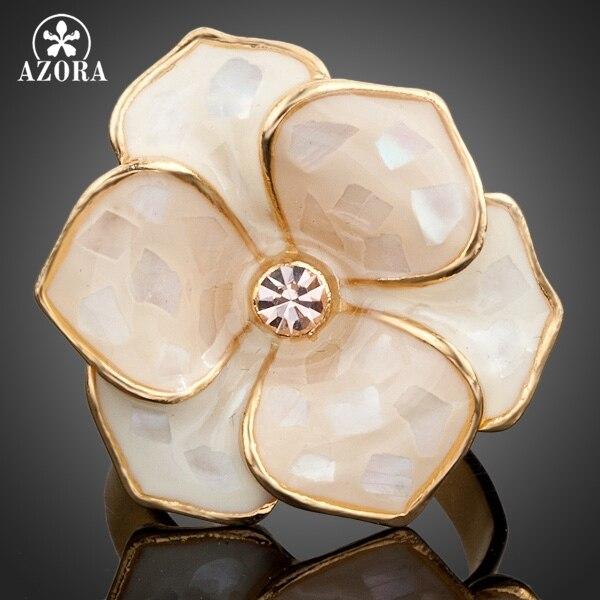 AZORA Gold Color Austrian Crystal Adjustable Flower Ring TR0036