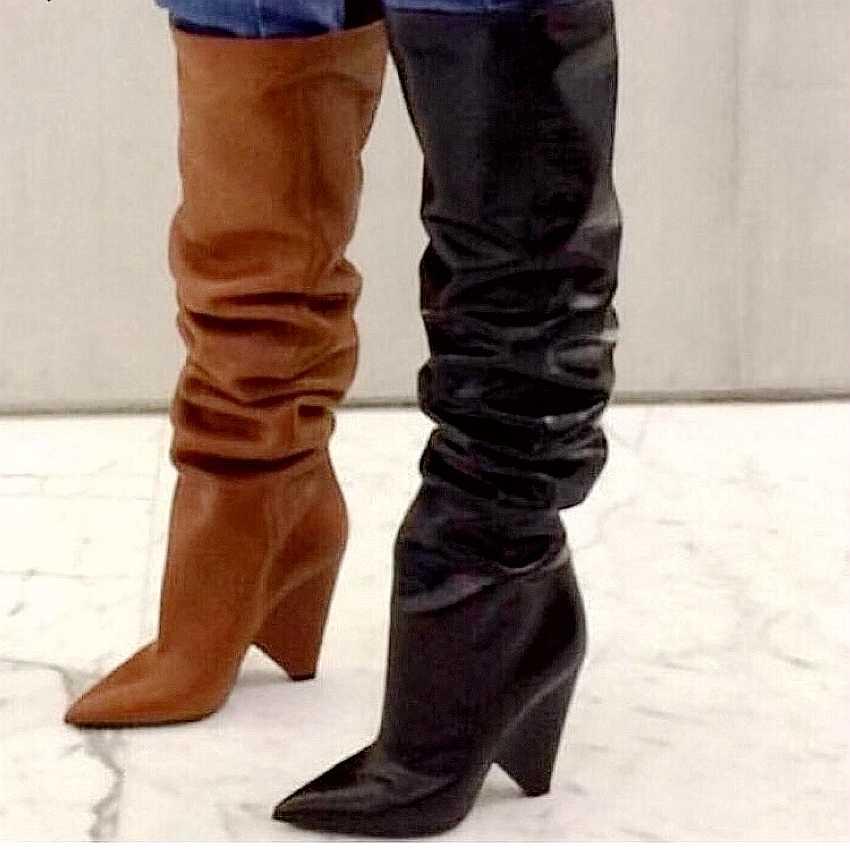 3463b86b8ab0 ... 9CM High Heels Thigh high Boots Shoes Women Faux Fur Winter Snow Shoe  Woman Black Leather ...