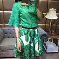 Nuevo 2016 de moda de verano de la media manga mujeres tops ahueca hacia fuera la blusa de encaje hecho a mano animal lindo cuentas de diamantes flare manga verde