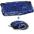Новые Красные/Фиолетовый/Голубой Светодиодной Подсветкой Проводной USB Ноутбука PC Pro Gaming клавиатура Мышь Комбо для LOL Dota 2 Gamer Клавиатура Мышь Combo