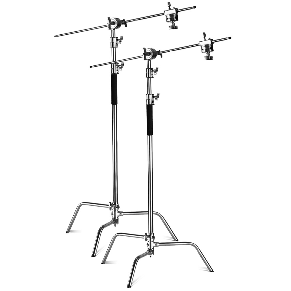 Neewer 2 Pieces Heavy Duty Max Height 10 feet/3m Adjustable Light Stand with 4 feetHolding Arm and Grip Head Kit for Studio visual communication spotlights for exhibition and trade fairs 40cm long arm and 30cm extra height