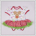 Baby First Xmas Party Dress Newborn Bodysuit Romper Short Sleeves Jumpsuit Infant Toddler Photography Props LS005