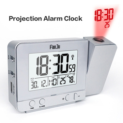 Original Fanju Multifunctional Wireless Projection Alarm Clock With Indoor Temperature Humidity And Time Projection Rechargeable