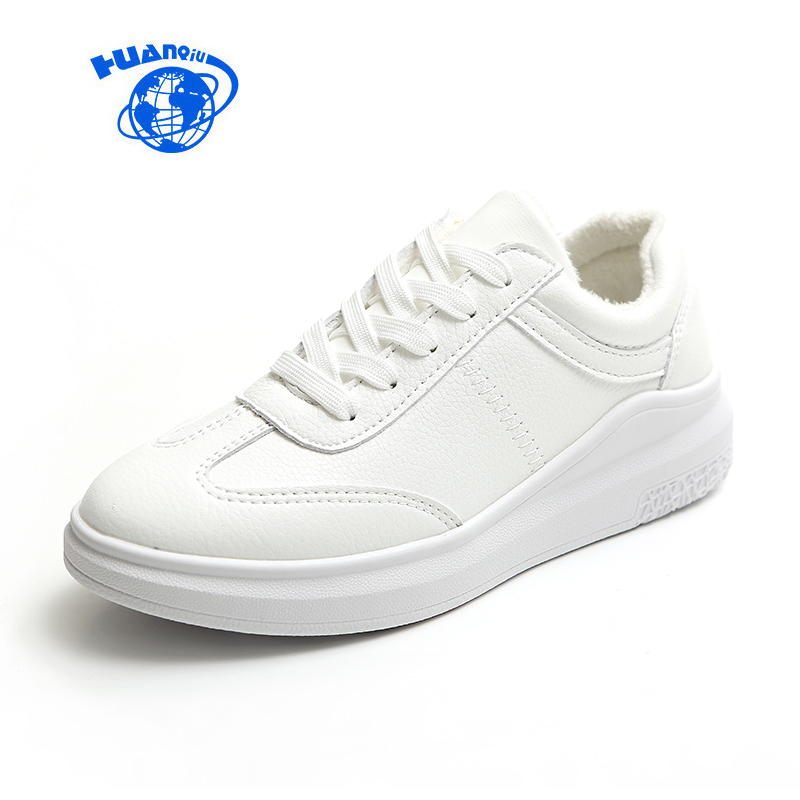 HUANQIU Women White Sneakers for Winter Solid Color Female Casual Shoes Fur Lined Black Sneakers Concise Style Flat Platform huanqiu white women vulcanize canvas shoes low breathable female solid color flat shoes casual candy colors leisure cloth shoes