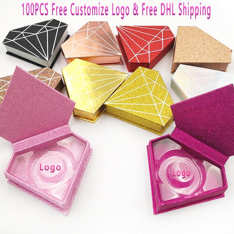 100 pcs cilios posticos caixa de embalagem caixas de chicote personalizado seu logotipo falso 3d vison