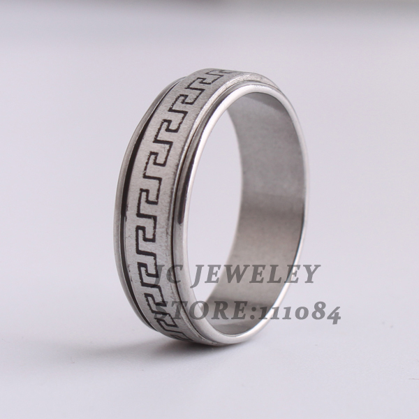 free shipping 7mm frosted Great Wall pattern Double layer Rotation 316L Stainless Steel finger rings for men jewelry wholesale