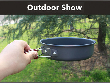 High quality Ultralight Camping Cookware Frying Pot outdoor tableware Picnic 2-3 Person Frying Pan Fry Pan Portable Single Pot 6