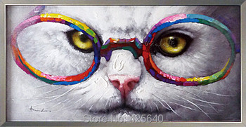 Cute Cat Oil painting On Canvas Wall Pictures Paintings For Living Room Wall Art Canvas Pop art modern abstract hand painted