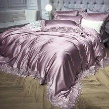 Комплект постельного белья из атласа и хлопка, с кружевом, цвета: белый, серебристый