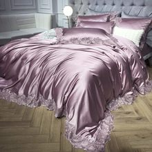 1000TC satin cotton lace white silver bedding set Luxury queen king size bed sheet fitted sheet set duvet cover parure de lit(China)