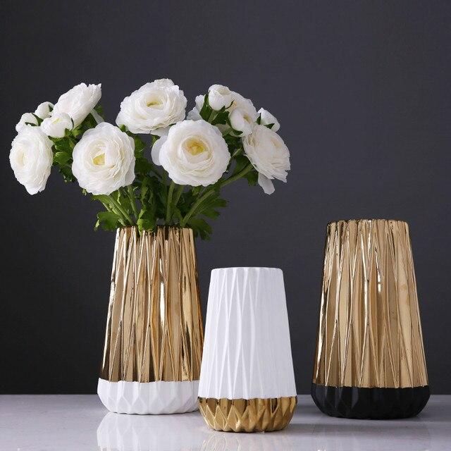 Exceptionnel Golden Ceramic Vase Simple Home Living Room Bedroom Dining Table Flower  Arrangement Home Decoration Ornaments
