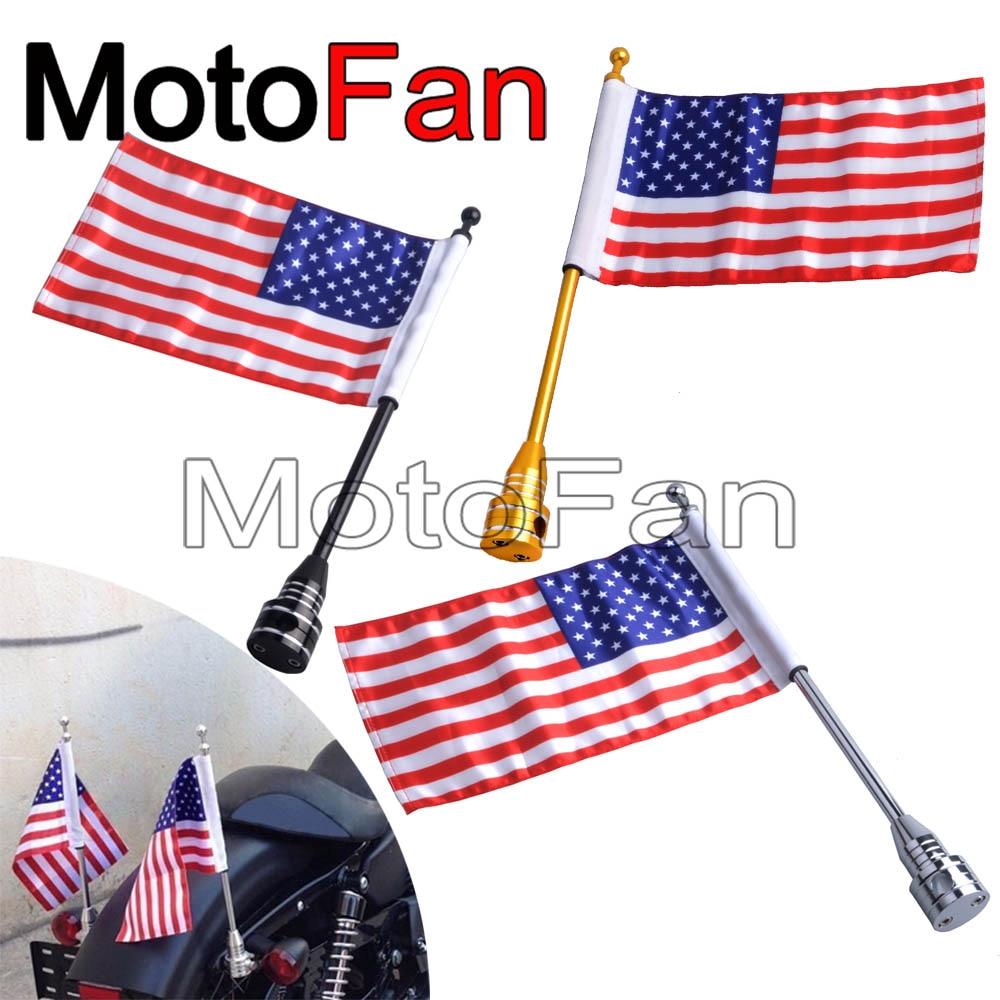 2 pièces Moto Drapeau Américain Pôle monture pour support Drapeaux USA Personnalisé Universel pour Harley Davidson Route Electra Street Glide Dyna 48