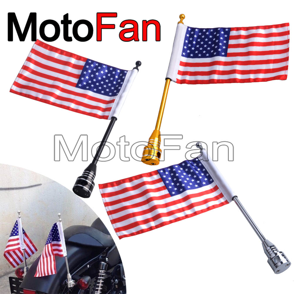 2PCS Motorcycle American Flag Pole Holder Mount USA Flags Custom Universal for Harley Davidson Road Electra Street Glide Dyna 48 motorcycle bike parts custom rear luggage rack mount pole with american usa chrome flag for harley