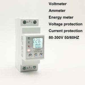 63A 80A 110V 230V Din rail adjustable over under voltage protective device protector current limit protection Voltmeter Kwh(China)