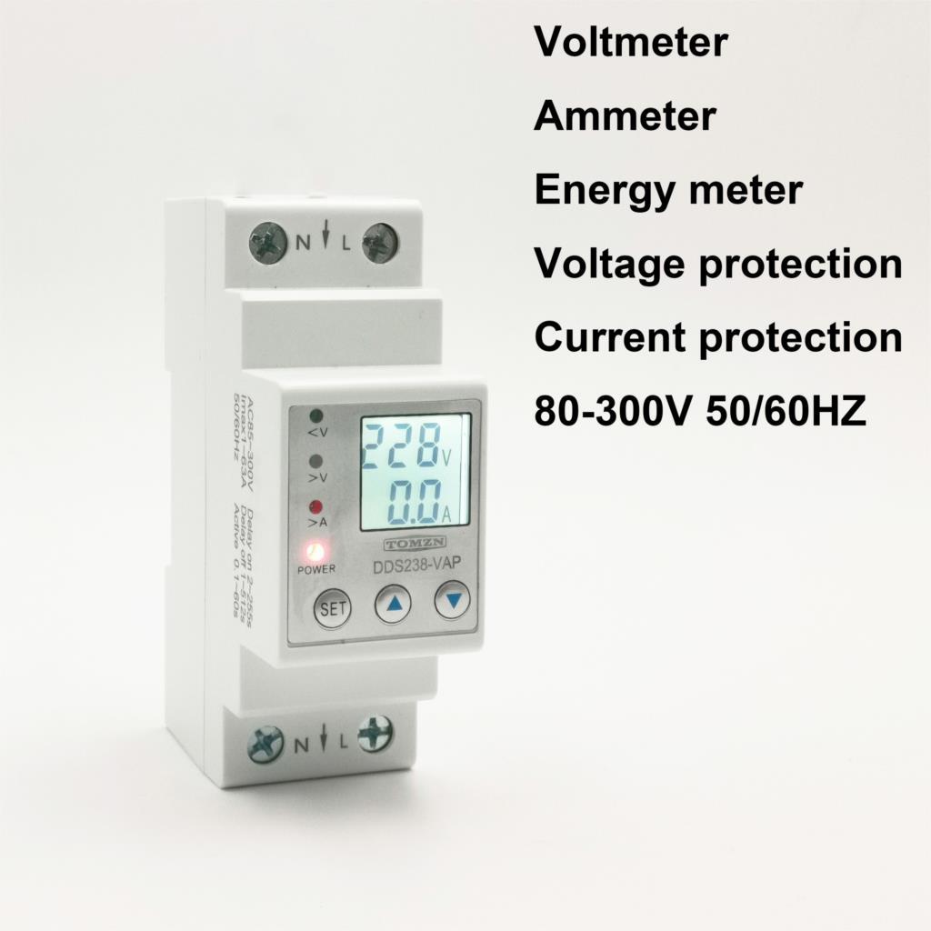 63A 80A 110V 230V carril Din ajustable por debajo de la tensión protector de dispositivo de protección de límite de corriente voltímetro Kwh