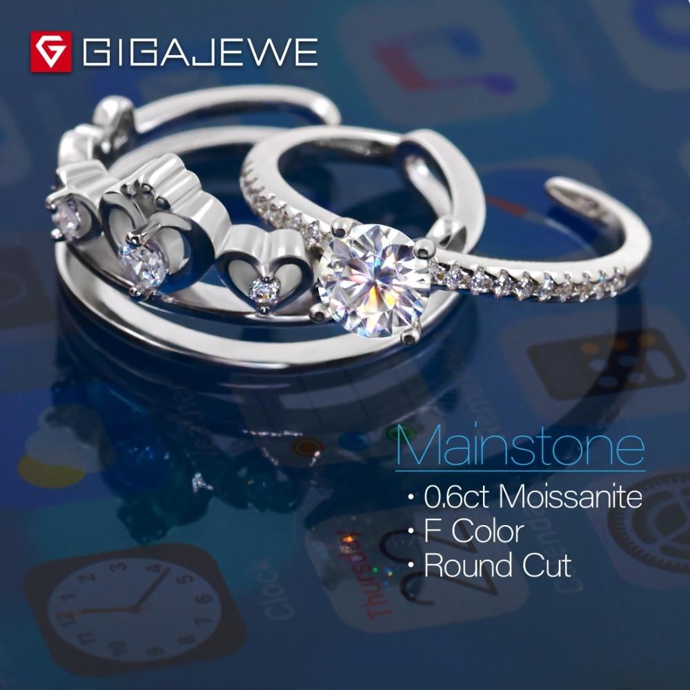 GIGAJEWE Moissanite Ring 0.6ct 5,5mm Runde Cut F Farbe 925 Silber Gold Multi schicht Überzogene Mode Liebe Token freundin Geschenk-in Ringe aus Schmuck und Accessoires bei  Gruppe 3