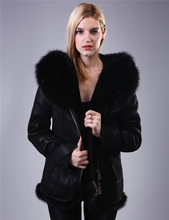 Factory direct supplier plush Fur with skin Artificial fox fur Warm keeping Slim Overcoat Lady suit Direct supply from factory