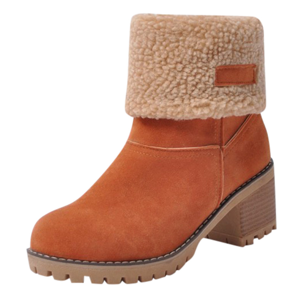 Women's Winter Shoes Brand Women Shoes Mid Calf Boots Flock High Quality Women Winter Warm Boots Plus Big Size 35-43 brand new winter quality women mid calf wedges boots fashion black red beige lady riding shoes eym02 plus big size 10 43