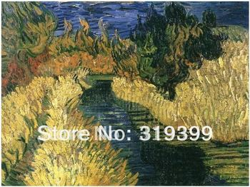 100% handmade Vincent Van Gogh Oil Painting reproduction on linen canvas,The Little Stream,Museum quality, Free DHL Shipping