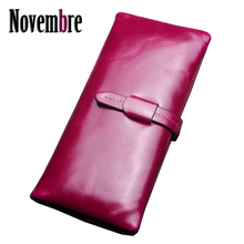 2017 New Fashion Genuine Leather Vintage lengthy girls's purse girls's Wallet wallets girls purses visiting playing cards Bag button women