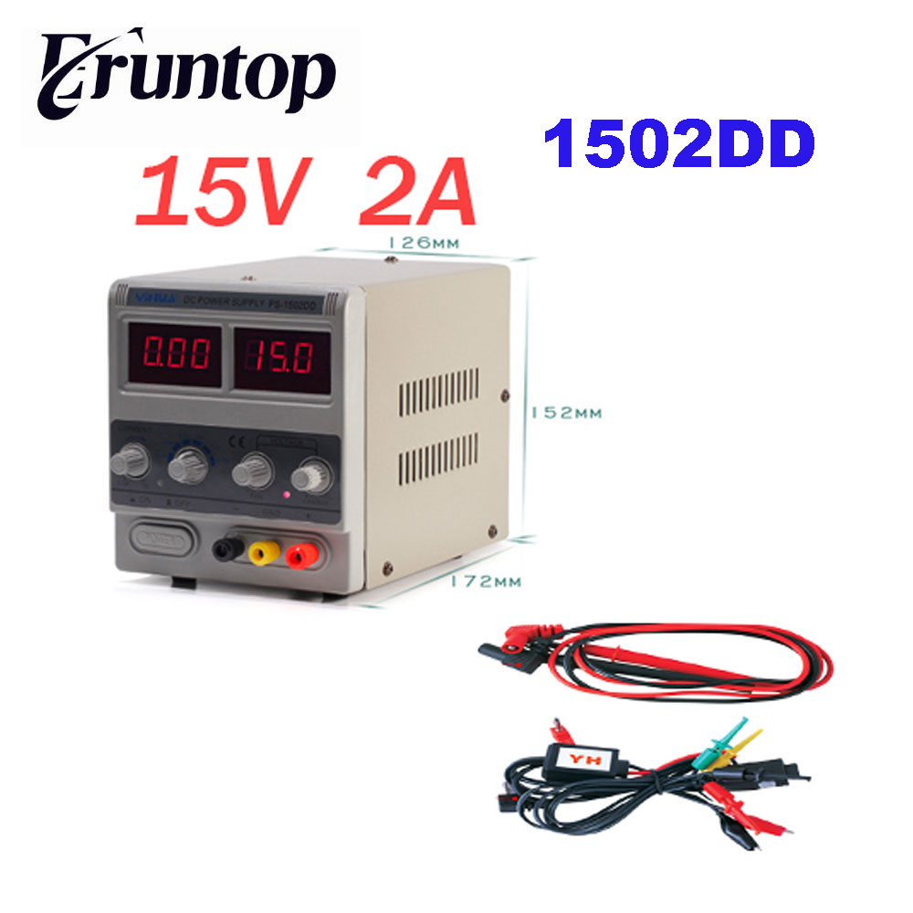 YIHUA 1502DD 15V 2A Adjustable DC Power Supply LED Display Mobile Phone Repair Power Test Regulated Power Supply yihua 3010d 30v 10a adjustable regulated dc power supply for computer mobile phone repair test