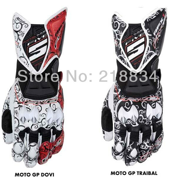 Free shipping Newest FIVE 5 printed racing gloves Genuine leather gloves motorcycle gloves full finger 3