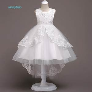 2805f053a54 JaneyGao Flower Girl Dress White For Wedding Party First Communion Dress  2018 New Little Girl Formal Gown Frong Short Long Back