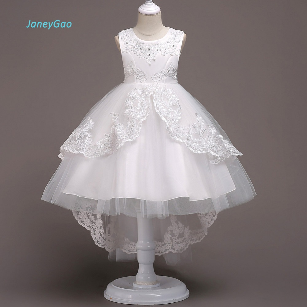 JaneyGao   Flower     Girl     Dresses   White For Wedding Party First Communion   Dress   2019 New Fashion Little   Girl   Formal Gown With a Train