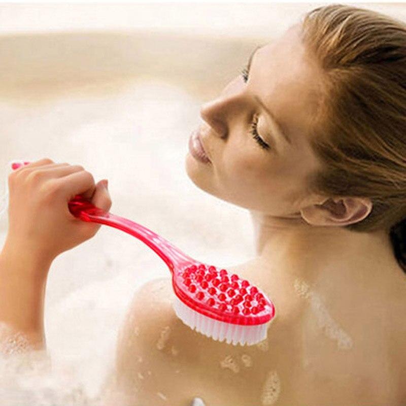 Bathroom:  Hot Back Brush Bathroom Products Bath Brush Long Handle Shower Bath Brushes Back Rubbing Body Scrubber Scrub Massager Reach Feet - Martin's & Co