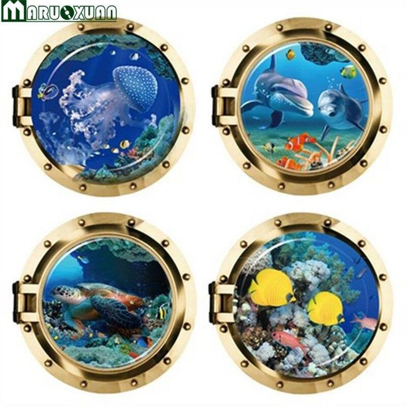 Maruoxuan efectos 3d variedad de serie de pegatinas de pared serie delfín submar