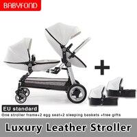 2019 Europe luxury PU twin stroller multi function folding high landscape dragon and phoenix brand twins baby stroller
