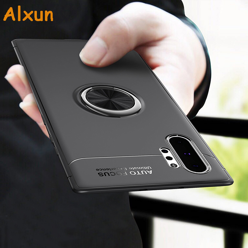 Alxun For Samsung Galaxy Note10 Plus Case Car Holder Stand Magnetic TPU Bracket Ring Back Cover Case For Note 10+ Note 10 Plus
