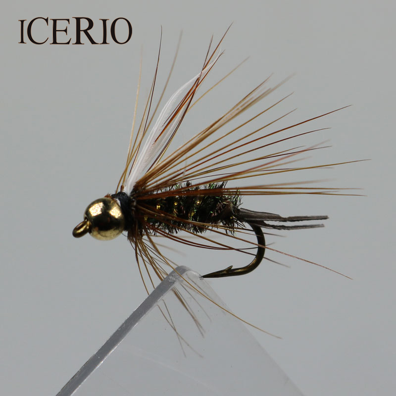 ICERIO 8PCS Copper John Bead Head Prince Nymph Flies Trout Fly Fishing Bait #12 12pcs 14 red tail bead head buzzer nymph fly for trout fishing lures