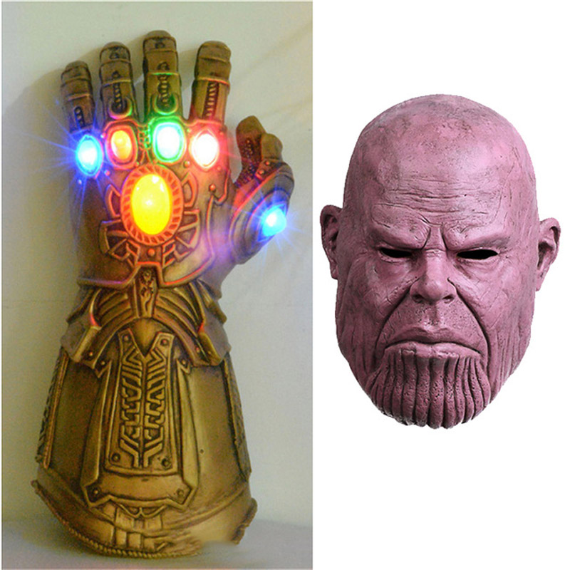 Infinity Gauntlet Gloves Cosplay Avengers Infinity War Thanos Gloves Mask PVC/Latex Handwear Deluxe Gloves Paty Carnival Props